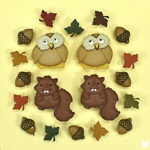 DRESS IT UP Buttons Woodland Holiday 9500 - Owl Beaver Acorns Leaves