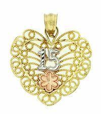 10k Solid 3Tone Gold Sweet 15 Anos Heart Pendant Charm Dije Corazon Oro 27x22mm