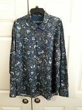 Tommy Bahama Men's Long Sleeve Button Up Blue Floral Shirt Size XL