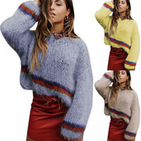 Women Long Sleeve Crew Neck Baggy Pullover Sweater Winter Knitted Jumper Tops US
