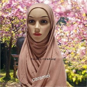 One Piece Hijab  Ready Made Pull on Scarf Jersey Instant Pin free new