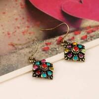 Fashion Women Bohemian Colorful Rhinestone Ear Stud Drop Earrings Jewelry Gift C