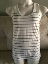 FADED GLORY Womans Size XXL - 20 Beige Stripe Racer Back Tank Top Shirt NEW