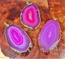 Agate Slice Necklace - Pink Crystal Slab Pendant - Gold (LR92)