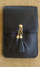 Black Crossbody Cell Phone Bag with Tassles and Rear Window, Detachable Strap