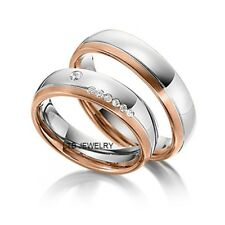 10K WHITE & ROSE GOLD MATCHING WEDDING RINGS ,HIS & HERS DIAMOND WEDDING BANDS