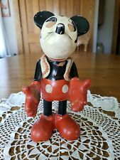 """Vintage 1930'S Knickerbocker NYC Mickey Mouse Composition Toy Figure 9.25""""T"""