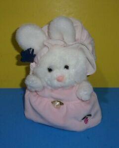 1984 Applause Carley The Bunny Rabbit Plush Stuffed Animal Pink Dress Bonnet