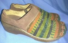 Women's Born Clogs Southwest Knit Corduroy Stripes Leather and Wool Size 8