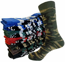PREMIUM QUALITY CAMO SPORTS CREW HEAVY SOCKS MID CALF LONG FULL CUSHION OLIVE