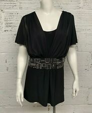 Vintage R&M Richards Womens Sexy Black Rhinestone Blouse Size 14W