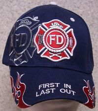 Embroidered Baseball Cap Fire Department First In Last Out NEW 1 fits all blue