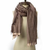 Stripy Chunky Womens Winter Scarf Christmas Wrap Brown Cosy Oversized Shawl Gift