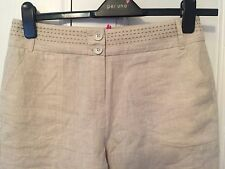 MARKS AND SPENCER PER UNA LINEN TROUSERS NEUTRAL 10 LONG BNWT