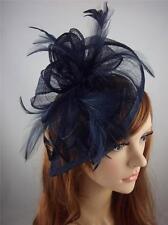 Navy Dark Blue Sinamay & Feathers Teardrop Fascinator  - Occasion Wedding Races