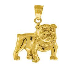 Solid 10k Yellow Gold Diamond Cut Bulldog Charm Pendant Made in USA