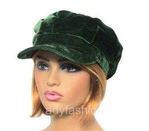 Womens Baker Boy Hat GREEN Faux Velvet Ladies Newsboy Cap Quality