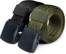 CQR 2 Pack Tactical Belt, Military Style Heavy Duty Belt, Nylon Webbing Buckle