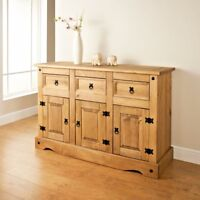Corona 3 Door 3 Drawer Large Sideboard - Mexican Pine