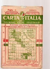 carta d italia touring club italiano- catania- 1909