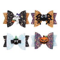 "1Pcs 3"" Halloween Glitter Pumpkin Hair Bow with Clip Funny Sequins Bat Hairpins"
