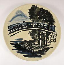 Vintage JAPANESE STONEWARE Shinkyo Bridge Kenzan Style Studio Pottery Plate