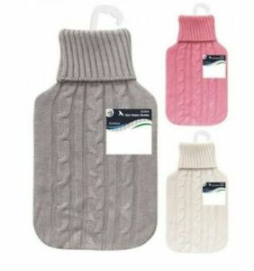 2L Hot Water Bottle Warmer Rubber With  Bag W/Soft cable Knitted Cover-Sal