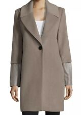 Elie Tahari Greece Wool Coat Leather Sleeve Cuffs Size 4 Flawless Condition $698