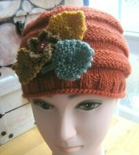 LADIES HAND KNITTED AUTUMNAL FLOWER HAT. GREAT GIFT IDEA?