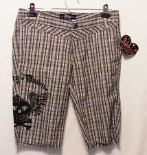 NWT Abbey Dawn by Avril Lavigne Shorts Gray Yellow White Black Plaid Size 5 $44