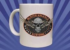 15oz Big Coffee Mug ORANGE BUSTED KNUCKLE KUSTOMS BIKER CONSTRUCTION Gun game