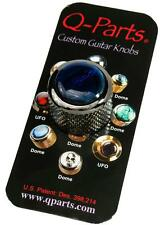 Q-Parts Dome Guitar Knob, Black Chrome with Blue Abalone Shell, KBD0001