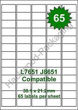 65 Labels per Sheet x 10 Sheets L7651 / J8651 White Matt Copier Inkjet Laser
