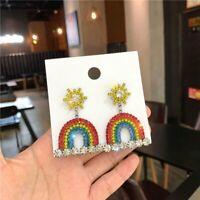 Luxury Rainbow Crystal Drop Dangle Earrings Women Statement Party Jewelry Gifts