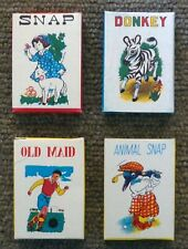 4 Vintage Old Maid Animal Snap Donkey Snap Mini Miniature Travel Toy Card Games