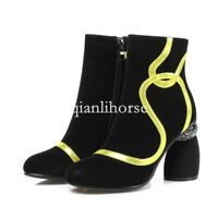 women block high heel side zip suede leather round toe ankle boots shoes British