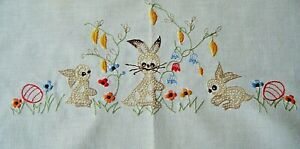 Old Vtg Easter coffee linen tablecloth bunnies'  eggs spring flowers Germany