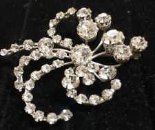 Mcm Silver Plate Brooch Pin Signed Crystal Rhinestone Sputnik Atomic Starburst