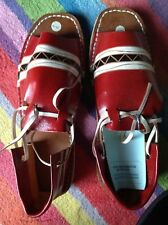 Handmade Sandels red patterned open toed leather upper Indonesian handcrafted 8