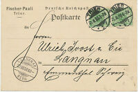 "DT.REICH ""TRIER / 1"" K2 a. Kab.-Postkarte nach ""LANGNAU / BERN"" Schweiz"