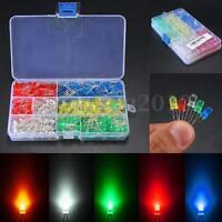 500Pcs 3mm/5mm LED Light White/Yellow/Red/Blue/Green Assortment Diodes Kit DIY