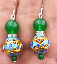 New  4-10mm green Emerald Cloisonne crystal Silver earring