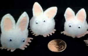 3 Easter Bunny Pompom Googly Eyes Peel and stick Feet Pink ears