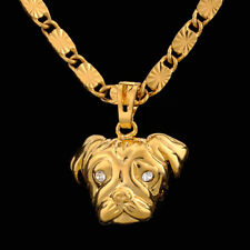 Mens 24K Solid Yellow Gold Filled Dog Head Necklace Pendant Jewellery Gift 24""