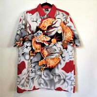 KNU Gear Mens Red Gold Dragon Short Sleeve Button Up Shirt Top Size Small