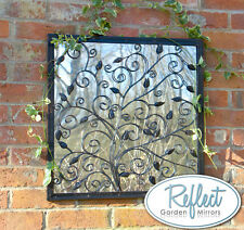 60cm Tree of Life Metal Square Acrylic Garden Mirror Steel Frame Bronze Floral