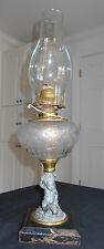 ANTIQUE 1870-80 FIGURAL CHERUB/ANGEL RAYO QUEEN ANNE NO. 2 BURNER OIL LAMP
