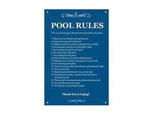 Swimming Pool Rules Sign - Outdoor, health & Safety, leisure facility, holiday