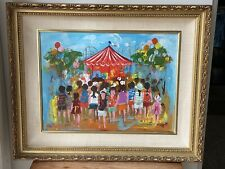 Chilmark Painting At The Fair Vintage Original Art Colorful Children Carnival