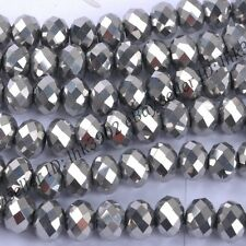 100Pc  Metallic Silver AB2x Opal Czech Crystal Faceted Rondelle Spacer Bead 6MM